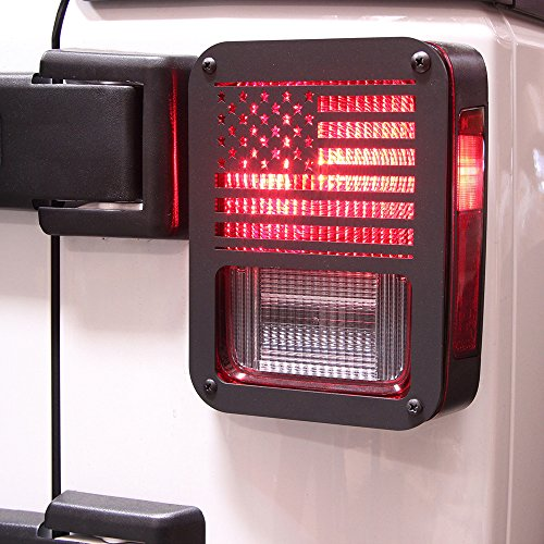 "Xprite ""American US Flag"" Tail Light Covers Guards Protectors for 2007-2017 Jeep Wrangler JK Unlimited Accessories -Pair"