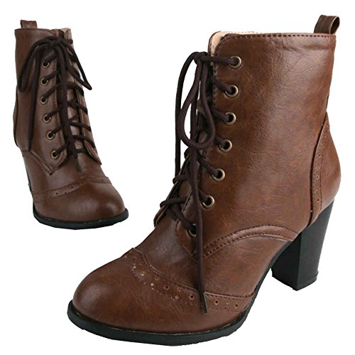 up and Heel Large Brown Women Lace Toe SJJH Pointed with with Chunky Chelsea Boots Boots nwaqSYv