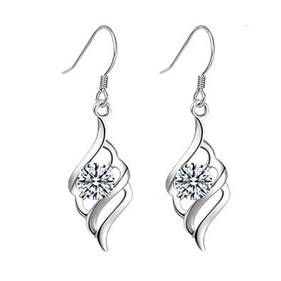 TININNA 925 Sterling Silver Earring Double Marquise Loops Design Earring Drops Hook Earrings Pendant Earrings for Women Ladies ZR7spj