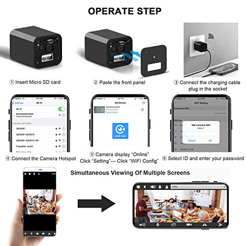 [Upgrade] Spy Camera Wireless Hidden WiFi Camera with Remote View,Hidden Spy Camera 1080P HD Nanny Cam Spy Hidden Camera Charger Recorder Motion Activated,Wireless Spy Camera Support iOS/Android