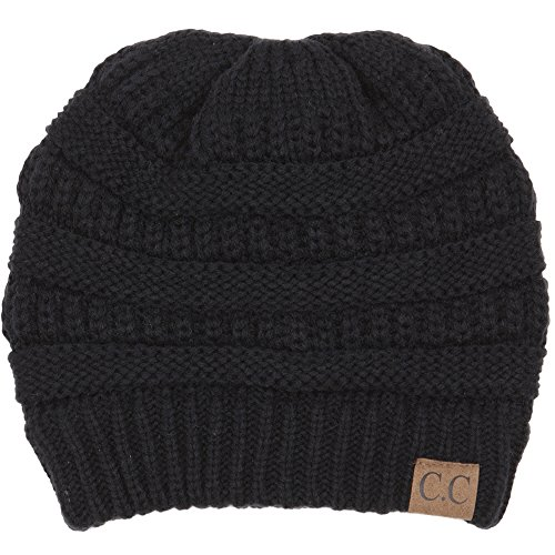 Funky Junque H-6020a-06 Solid Ribbed Beanie - Black