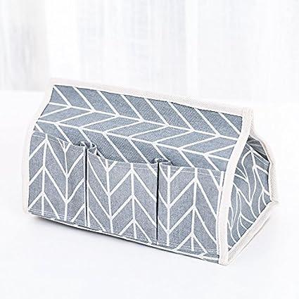 Caja de pañuelos de tela simple y fresca de estilo Mori femenino, multifuncional, para oficina, artículos pequeños, 25,5 x 14 – 17,5 cm, color gris: Amazon.es: Oficina y papelería