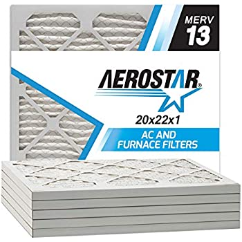 Aerostar 20x22x1 MERV 13 Pleated Air Filter, Made in the USA, 6-Pack