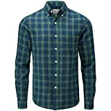 Charles Wilson Men's Long Sleeve Checked Flannel Shirt (Medium, Green & Blue)