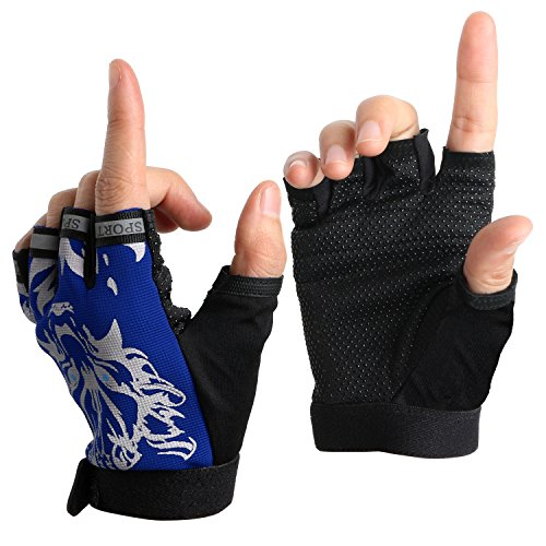 Mtb Shock (Boy Girl Child Children Kid Half Finger Fingerless Short Shock-absorbing No-Slip Pro Cycling Gloves Mitten for Cycling MTB Exercise Skate Skateboard Roller Skating Other Sports (Blue wolf))