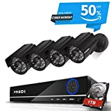 FREDI 8CH Security Camera System Full 960H DVR with 4x 800TVL Superior Night Vision IR Cut Leds indoor/outdoor CCTV Camera(With 1TB Hard Drive)