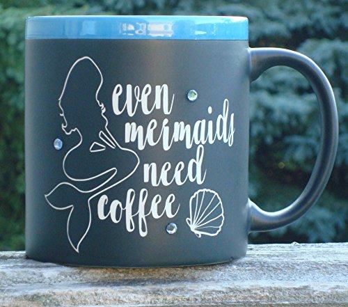 Even Mermaids Need Coffee Jumbo Coffee Mug Cup With Liquid Chalk Marker