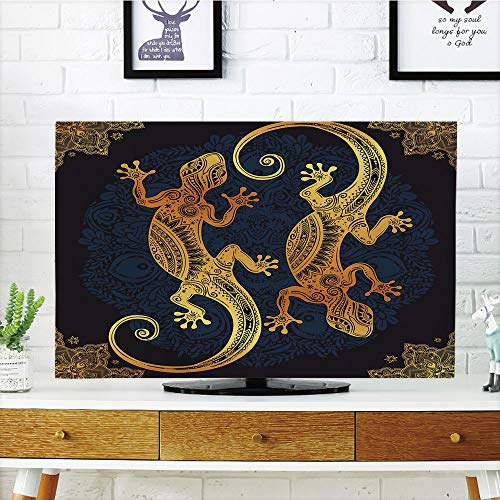 over Customizable,Gold Mandala,Artistic Gecko Lizard Figures Boho Framework Tropical Henna Tattoo Style,Gold Dark Blue,Graph Customization Design Compatible 60