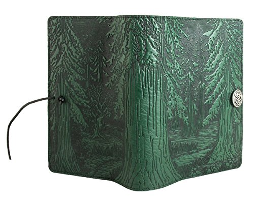 Genuine Leather Refillable Journal Cover + Hardbound Blank Insert - 6x9 Inches - Forest, Green With Pewter Button - Made in the USA by Oberon Design by Oberon Design (Image #2)