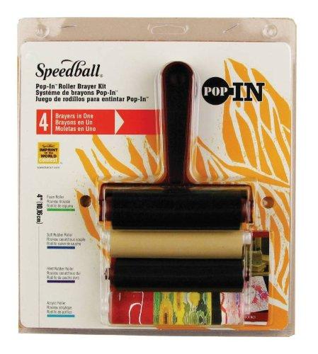 Speedball Pop-In 4 Roller Brayer Kit-Foam, Rubber, Hard Rubber & Acrylic