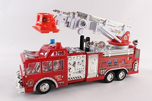 Litzpy Fire Engine Truck with Big Hook and Ladder, Large, 16-Inch (Fire Tower Truck)