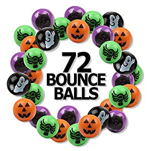 """6 Dozen (72) Bright Halloween Bouncing Balls 1""""; Perfect for Trick or Treat; Classroom Giveaways; Party Favors; by Fun Express"""
