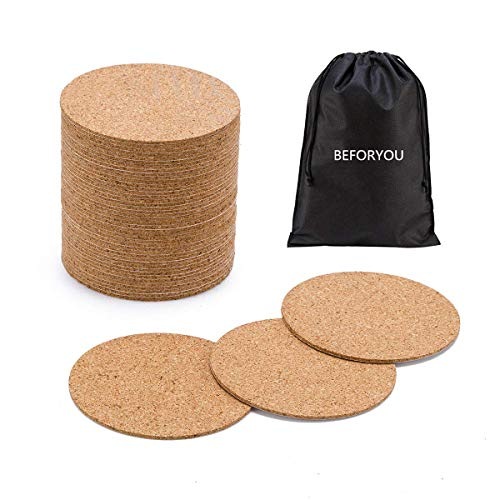 60 Pack SelfAdhesive Cork Round Squares  4quotx 4quot Cork Backing Sheets Mini Wall Cork Tiles for Coasters and DIY Crafts