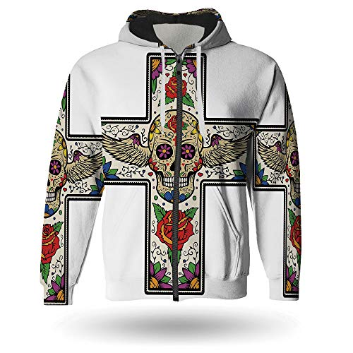 Mens Zipper Hoodie,Sugar Skull Decor,Zipper Hoodies Sweatshirt with Design