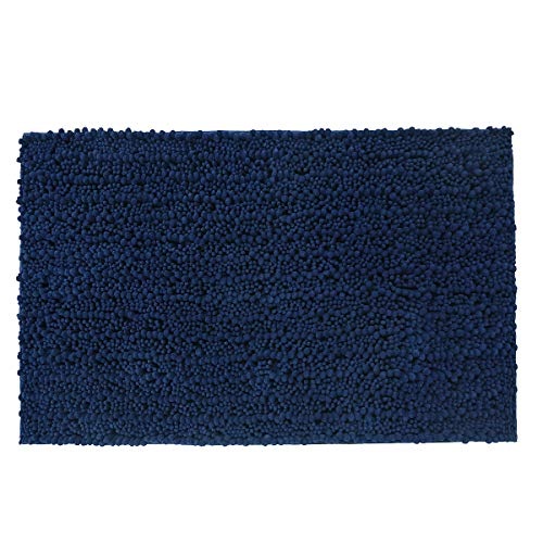 Yimobra Original Luxury Shaggy Bath Mat Large Size 31.5 X 19.8 Inch Super Absorbent Water,Non-Slip,Machine-Washable,Soft and Cozy,Thick Modern for Bathroom,Bedroom,Navy Blue