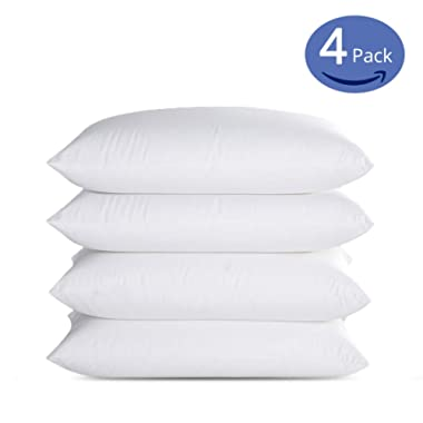 Emolli Luxury Hotel Collection Bed Pillows (Standard-4 Pack) Super Soft Down Alternative Microfiber Alternative Sleeping Pillow and 100% Cotton Cover Soft Comfortable