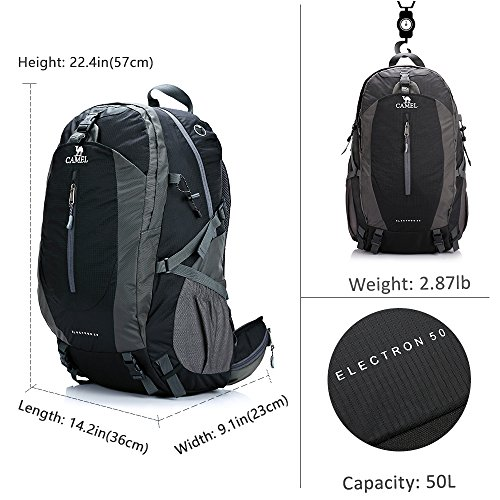 531f41c6ac8 CAMEL CROWN 50L Waterproof Hiking Backpack Travel Daypack Backpacks for  Outdoor Camping Trekking Backpacking Black