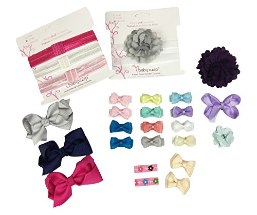 (Baby Wisp 26 Assorted Hair Bows and Headbands - Grow Along Gift Set Collection Clips Baby Girls Toddlers (Modern))