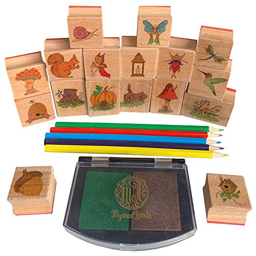 Wooden Rubber - Mystical Lands Fairy Garden Forest Wooden Rubber Stamp Set for DIY Picture Making Cards Scrapbooking Crafts