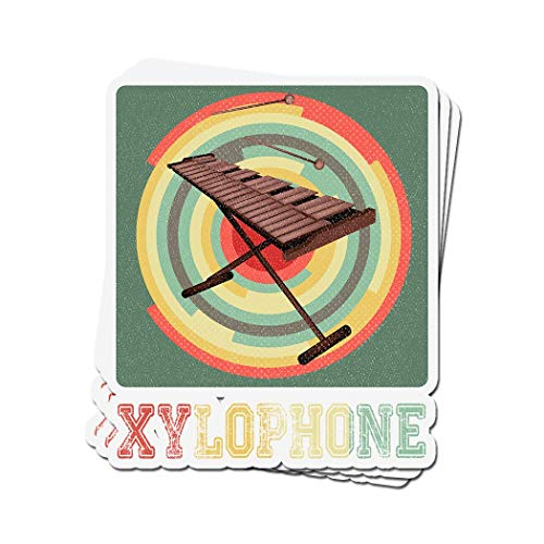 - 3 PCs Stickers Xylophone Vintage Retro for Xylophone Player 4 × 3 Inch Die-Cut Decals