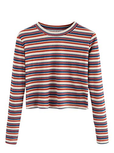 Milumia Women's Casual Striped Ribbed Tee Knit Crop Top Multicolored Small ()