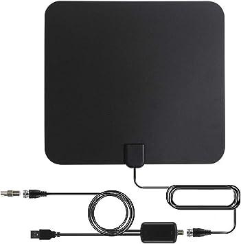 [Nueva Versión 2019] Antena TV Interior, Antena de TV de Rango Amplificado de 95 km (60 Millas) Antena TDT con Amplificador de Señal y Cables de Alto ...