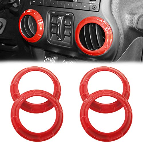 MOEBULB Interior Air Conditioning Vent Cover Trim Accents for Jeep Wrangler JK JKU Unlimited 2007-2017 (4pcs, Red) (Interior Air Vents)
