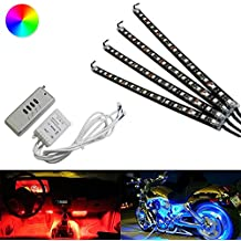 iJDMTOY 4pc Wireless Control 72-SMD RGB 7-Color LED Knight Rider Lighting Kit For Car SUV Truck Motorcycle Bike ATV Interior or Exinterior Use