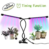 Cheap Timing LED Grow Light,18W Dual Head Plant Grow Light Lamp with Timer for Indoor Plants and Seedlings,3/9/12H Timer,36 LED with Adjustable Gooseneck,8 Dimmable Levels
