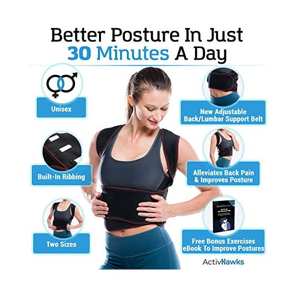 ActivHawks Correcteur De Posture Dos Épaules Avachies – Pour Hommes Et Femmes Lavable et Ajustable Taille (S/M) – Idéal…