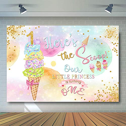 COMOPHOTO Ice Cream Birthday Party Backdrop Little Princess Turning One Photography Background 7x5ft Vinyl Scoop Sweet Celebration Party Banner Backdrops
