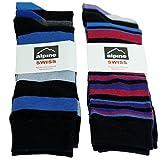 Alpine Swiss Mens Cotton 6 Pack Dress Socks Striped