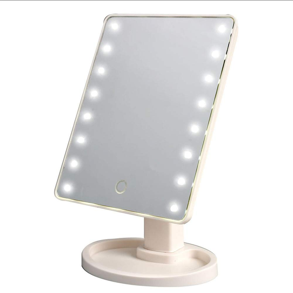 Makeup Mirror with Lights 360 Degrees Rotation Mirror Adjustable Lighted LED Screen Cosmetic Mirrors 22 LEDs Touch Switch Vanity Mirror SANSHUREN