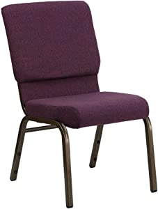 Flash Furniture HERCULES Series 18.5''W Stacking Church Chair in Plum Fabric - Gold Vein Frame