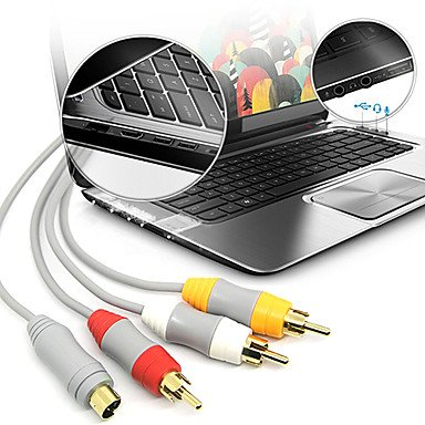 azazaz 1.8M 5.904FT Wii 30Pin Male to S-Video + 3RCA Male Gold-Plated HD Video Audio TV Display Cable for Wii