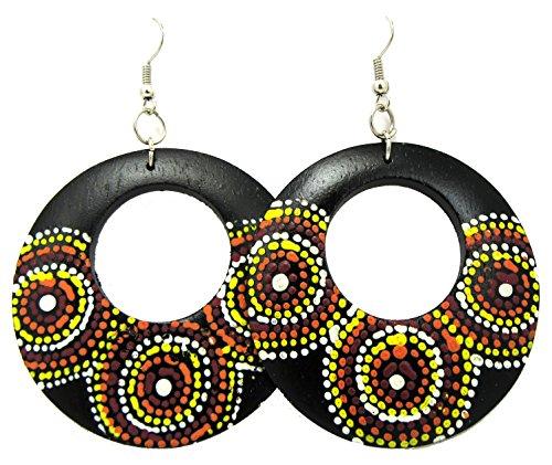 Wooden Earrings - Round Wood Earrings - Wood Earrings - Rasta Earrings-Wooden Handmade Earrings (Black Wood - Handpainted Madala Dots)