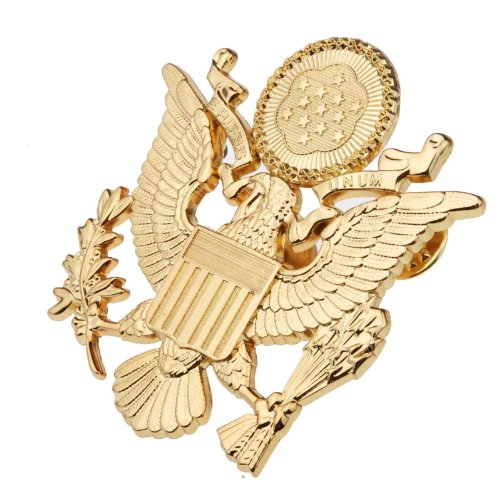 Generic Men's WWII US Army Officer Cap Eagle Badge Insignia 2.5X2.4X1.0 Gold