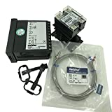 Twidec MT400-2 PID Temperature controller, 90-240VAC, 0-400 °C, Input: K, Output: SSR(DC12V);K screw probe, probe lead length 2M(78.74 inches);TC48D25 SSR 25A;Black heat sink
