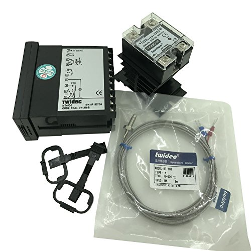 Twidec MT400-2 PID Temperature controller, 90-240VAC, 0-400 °C, Input: K, Output: SSR(DC12V);K screw probe, probe lead length 2M(78.74 inches);TC48D25 SSR 25A;Black heat sink by twidec (Image #1)