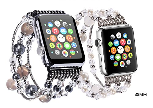 JOMOQ Compatible with Apple Watch Replacement Band, Fashion Ladies Elegant Beaded Bracelet, Cool Birthday Wedding Gift iWatch Band for Apple Watch Series 3 2 1 Sport and Edition 38mm 42mm,2 Pack