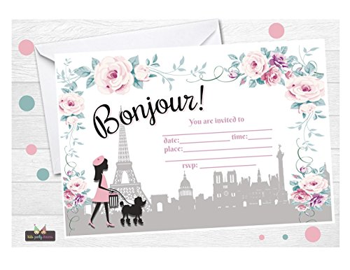 Paris Birthday Party Invitation 12 pcs - Paris Invitation - Free Envelopes for $<!--$15.99-->