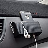 ZaCoo Carbon Fiber Texture Car Vent Storage Organizer, Phone Holder Glasses Holder Pen Holder Coin Holder Key Holder Car Organizer Pocket - with Double-Layer Sticker (Large)
