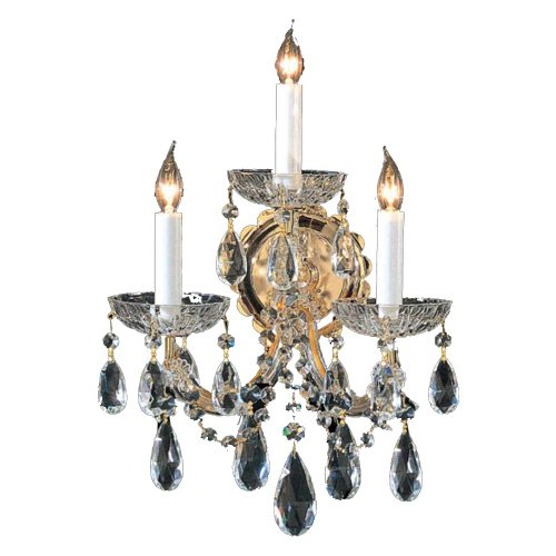 Crystorama 4403-GD-CL-MWP Crystal Accents Three Light Wall Sconce from Hot Deal collection in Gold, Champ, Gld Leaffinish, 8.00 inches ()