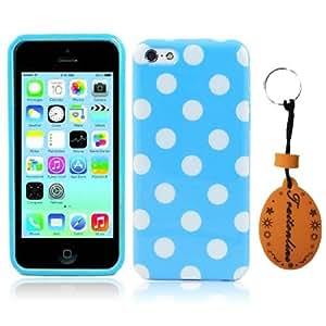 Traitonline Azul & Blanco Polka Dot Carcasa Suave TPU Gel Funda Caso para iphone 5c case cover Bumper Cubrir