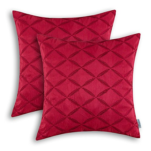 Pack of 2 CaliTime Pillow Shells Cushion Covers Faux Silk Diamonds Chain Geometric Embroidered 18 X 18 Inches Deep Red