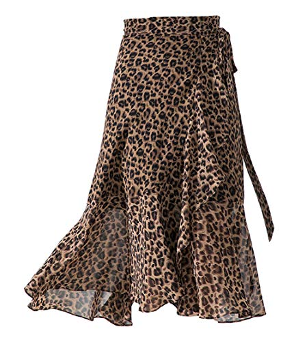 chouyatou Women's Summer Leopard Print Bow Knot Waist Chiffon Fishtail Pencil Skirt (X-Small, Brown Leopard)