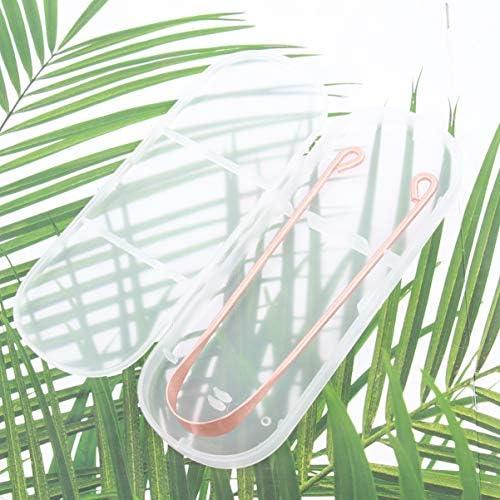Exceart Zungenreiniger mit Kunststoffgehäuse Kupfer Wiederverwendbarer Zungenschaber Zungenbürste Zungenreinigungswerkzeug für Frauen Erwachsene Kinder Männer