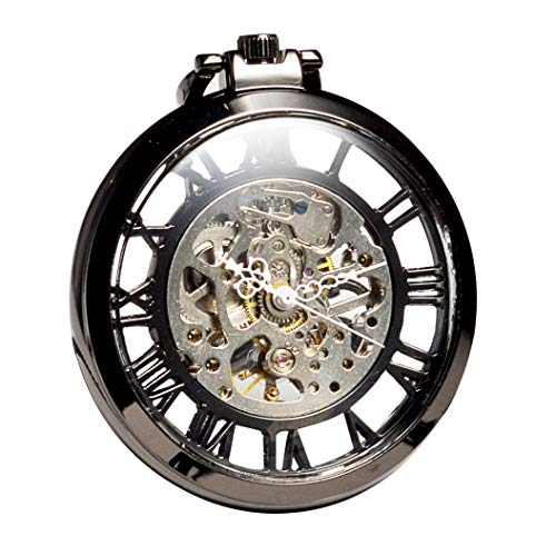ManChDa Steampunk Mechanical Black Skeleton Big Size Hand Winding Pocket Watch Open Face Fob for Men from ManChDa