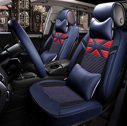 Ice Silk Luxury Car Seat Cover - Non-Slip Suede Backing Universal Fit Cushion for Fabric and Leather Car Seats (Color : Blue):