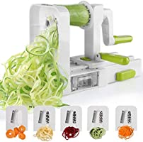 Sedhoom Espiralizador de Vegetales Cortador de Verduras de 5 Cuchillas, Doblado Espiralizador de verduras Para Cortar Frutas y Verduras en Espiral, Juliana, Espaguetis, Tallarines, Cintas o Fideos